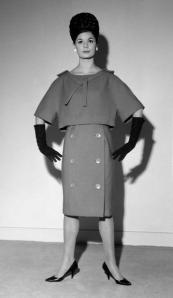 Fashion. London, England. November 1959. An Apricot wool dress worn with a 'sailor' collar from the Christian Dior Spring Collection.